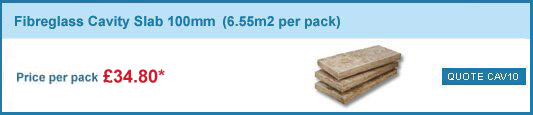 12 packs 100mm fibreglass cavity slabs(6.55m2 pack) only £282.00 +VAT