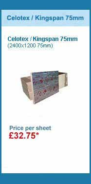 10 sheets 2400x1200x75mm celotex / kingspan insulation for only £317.00 +VAT
